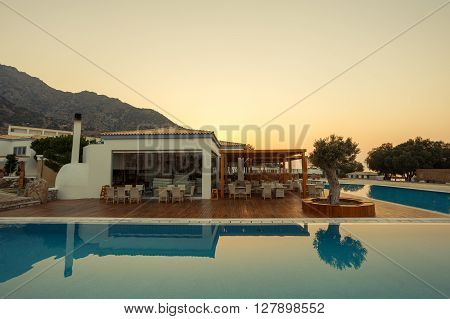 KARDAMENA KOS/GREECE - August 03 2015: International cuisine restaurants available for all clients of Mitsis Blue Domes resort: Italian Asian Mexican and Greek.