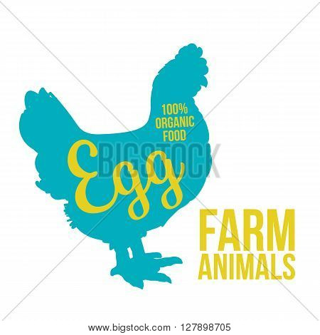 blue contour farm animal with a white lettering  inscription inside, Logo Chicken vector animal, outline for the product, vector illustration contour farming Chicken with lettering on the fowl food