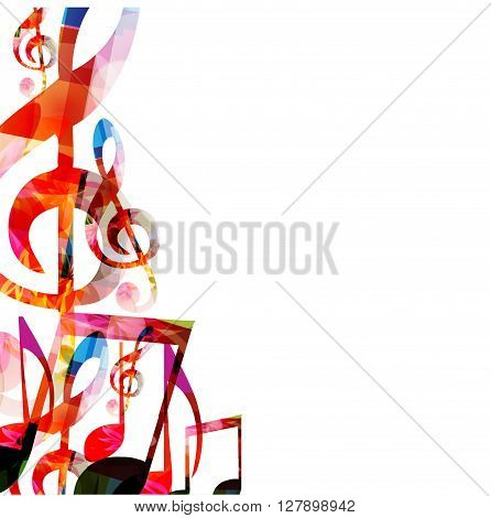 Vector illustration of colorful music notes background