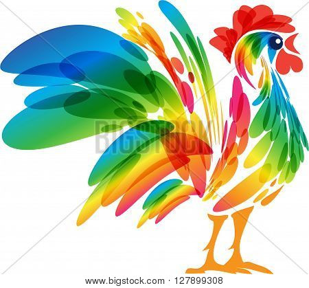 Rooster design on a white background, vector art, colorful domestic farmer bird