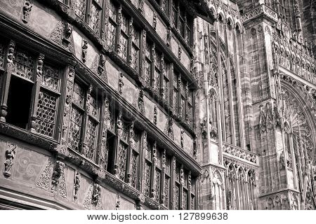 Side view on Strasbourg Cathedral is a Roman Catholic cathedral Alsace France