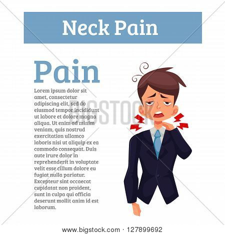 Pain in the neck of man, funny cartoon vector illustration isolated, the boy had a sore neck, spine disease, sedentary office work, office worker malaise sick tired, tension in the neck, disease