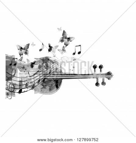 Vector illustration of black and white violoncello with hummingbirds