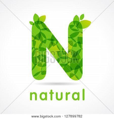 N natural green logo. Letter