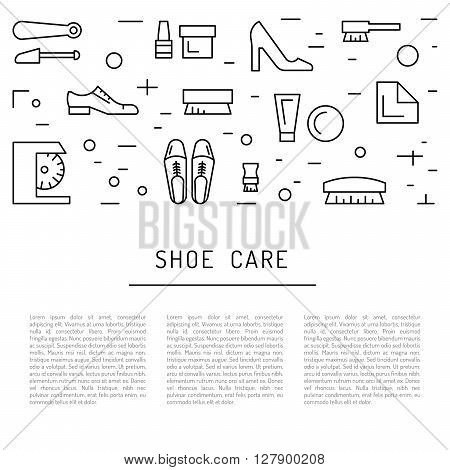 Set icons items for Shoe care. Elements for this service Shoe Shine. Outline Elements for shoe care poster