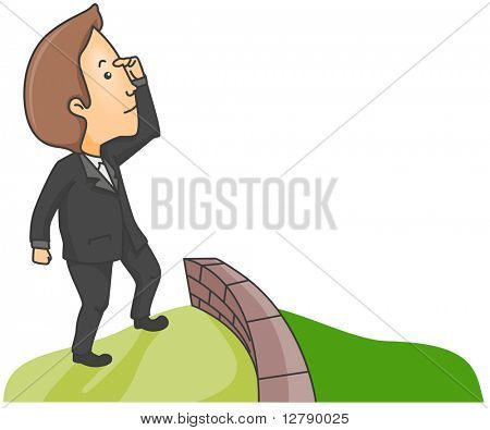 Illustration of a Man Searching for Greener Pasture