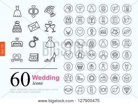 Set of wedding icons for web or services. 60 design honeymoon line icons high quality, vector illustration.