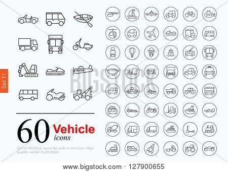 Set of transport icons for web or services. 60 design line vechile icons high quality, vector illustration.