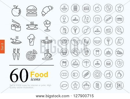 Set of food icons for web or services. 60 line icons high quality, vector illustration.