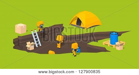 Low poly monster footprint and the team of scientists. 3D lowpoly isometric vector concept illustration