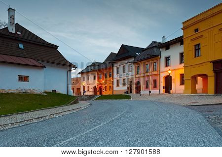 SPISSKA SOBOTA - APRIL 28, 2016: Square in the historic town of Spisska Sobota, Slovakia on April 28, 2016.