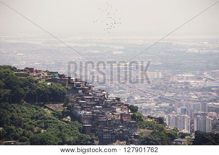 view of favela on a hill of Rio de Janeiro Brazil
