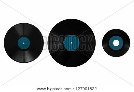 Size comparison of many analogue recording media for music. Left to right: shellac record 78 rpm vinyl record 33 rpm and 45 rpm poster