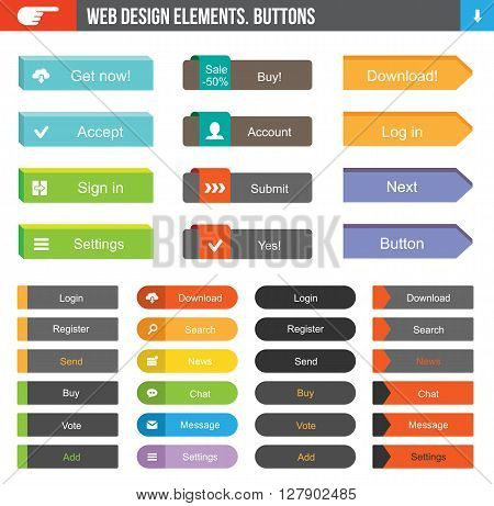 Flat Web Design elements - set of 36 color buttons with icons for website or app.