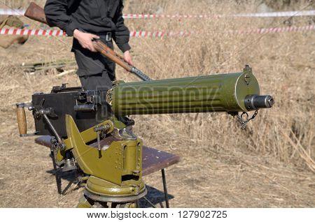 Russia.Saint-Petersburg.02.05.2016.Machine gun developed by British American gunsmith Hiram Stevens Maxim in 1883.
