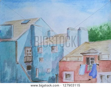 Watercolor hand-painted etude in blue houses and buildings, spring is coming to town, old european town roofs watercolor hand-painting, watercolor houses, blue watercolor painting, cozy town houses