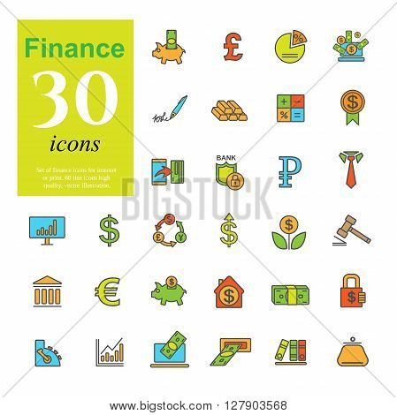 Set ot color finance icons for web or print. High quality icons, vector illustration.