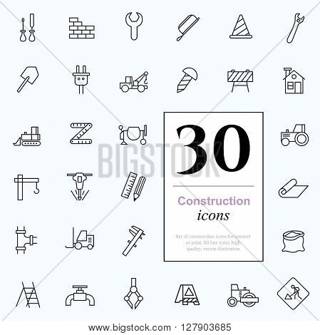 Set of construction icons for web or services. 30 design repair line icons high quality, vector illustration.