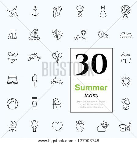 Set of summer icons for web or services. 30 design line icons high quality, vector illustration.