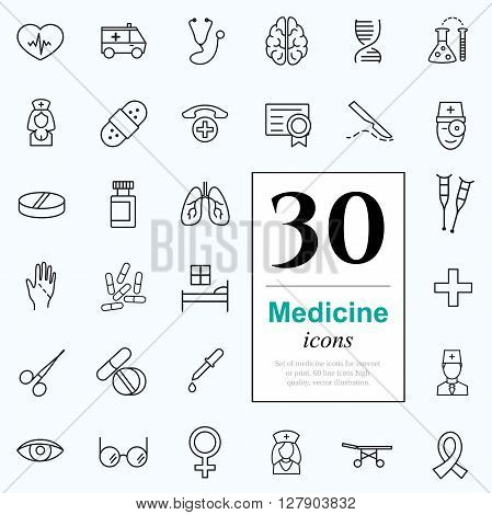 Set of medicine icons for web or services. 30 design line icons high quality, vector illustration.