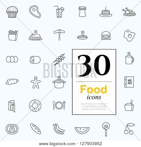 Set of food icons for web or services. 30 line icons high quality, vector illustration.