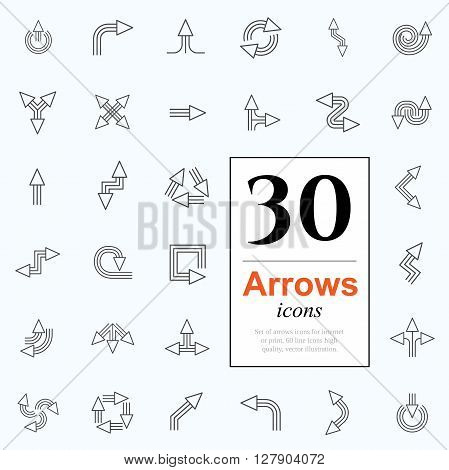 Set of arrow icons for website or internet services. 30 design line icons high quality, vector illustration.