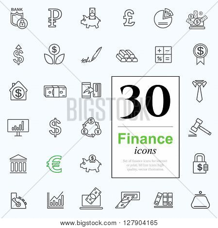 Set ot finance icons for web or print. High quality line icons, vector illustration.