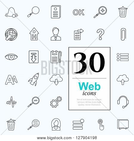 Set of web icons for internet services. 30 line icons high quality, vector illustration.