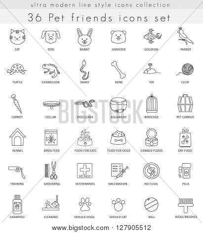 Vector Pet ultra modern outline line icons for web and apps