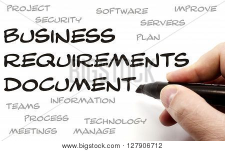 Business Requirements Document being hand written with great terms such as plan servers and more. poster