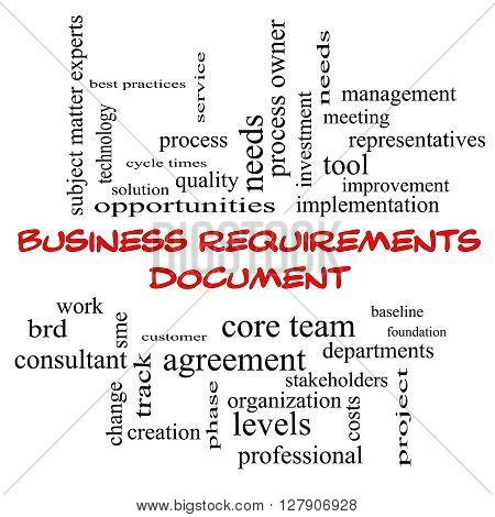 Business Requirements Document Word Cloud Concept In Red Caps