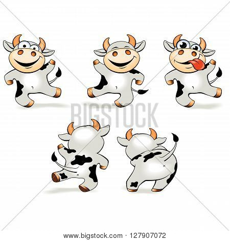 Vector illustration - set of funny cartoon young crazy cow dancing in various poses.