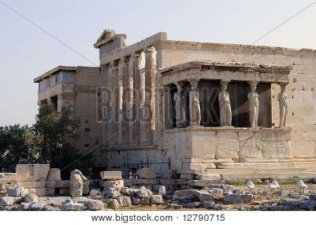Erechtheion. Athens Acropolis Statues.