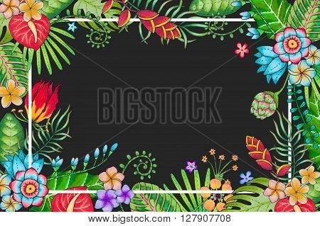 Hand drawn and markers colored bright background with tropical leaves, branches and flowers, located as a frame with place for text