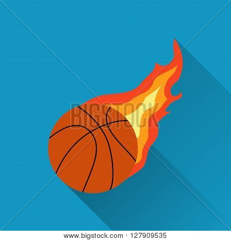 Basketball on fire flaming basketball icon basketball sign with fire sport icon flat design with long shadow vector