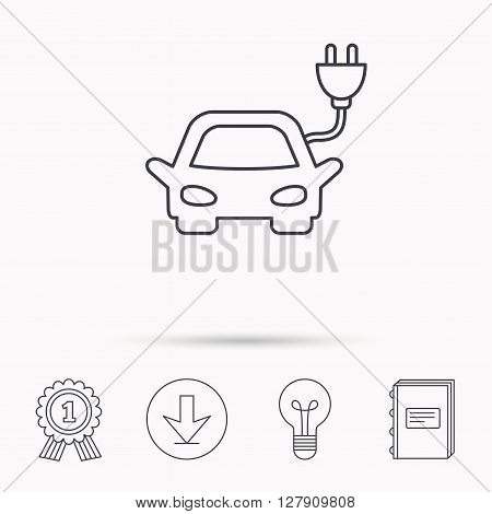 Electric car icon. Hybrid auto transport sign. Download arrow, lamp, learn book and award medal icons.
