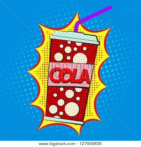Paper cup of cola with tube comic speech bubble with cola sing on a dots pattern backgrounds in pop-art retro style vector