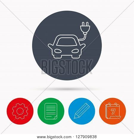 Electric car icon. Hybrid auto transport sign. Calendar, cogwheel, document file and pencil icons.