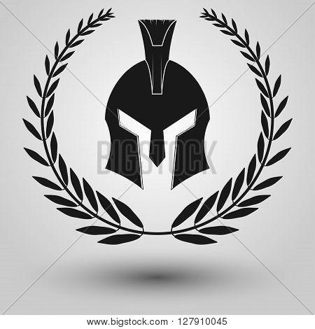 Spartan Helmet full face silhouettes with laurel wreath symbol of gladiator soldier or greek warrior or roman legionary helmet hero sign vector