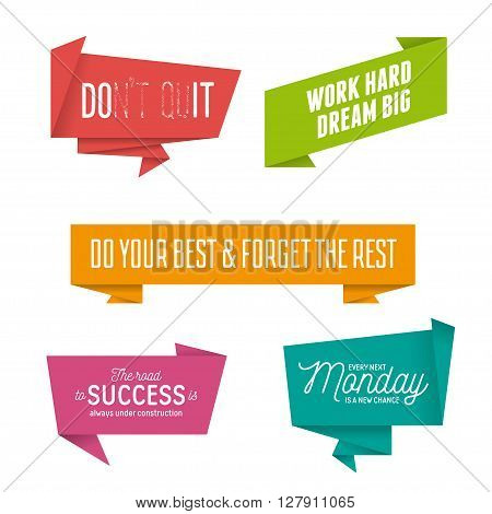 Abstract geometric origami speech bubbles set with motivational quotes. Do it. Work hard, dream big. Every monday is a new chance. Vector illustration.