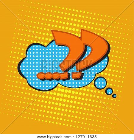 Pop art speech bubble with question mark, perplexity comic book speech bubble, colorful speech bubble with question marks on a dots pattern backgrounds in pop-art retro style, vector
