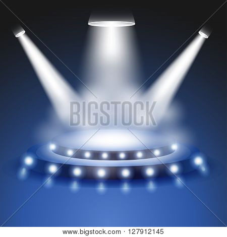 Scene with realistic Light and smoke effect, Stage or podium spotlight, Show scene spotlight, shine spotlight on transparent background, stage lighting spotlights, scene illumination, vector