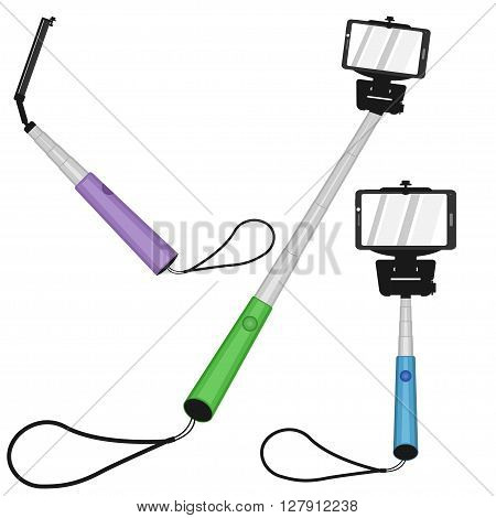 Selfie monopod icon set, selfie stick sign set, selfie stick front view, selfie monopod top view, selfie stick side view, selfie stick monopod icon or sign flat design on white background, vector