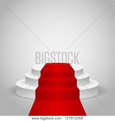 Realistic contest stage with the Red carpet, the Red carpet on empty white podium, place for product placement for presentation, winners podium or stage with the Red carpet on gray background, vector