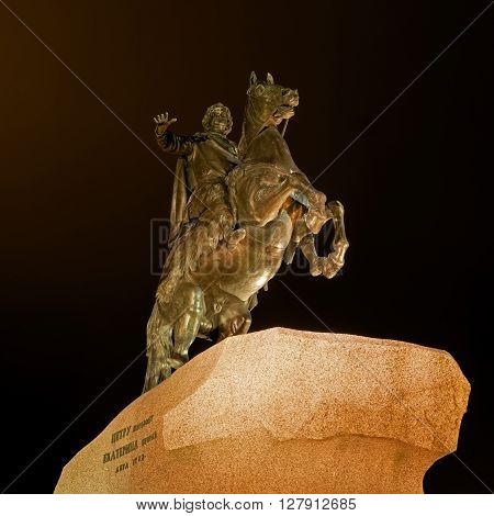 Famous statue of Peter the Great -Bronze Horseman- in Saint Petersburg. Night Photography. equestrian statue of Peter the model made by the sculptor Etienne Falconet in 1768-1770.