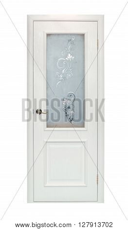 Modern beige room door isolated on white background