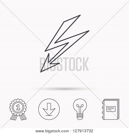 Lightening bolt icon. Power supply sign. Electricity symbol. Download arrow, lamp, learn book and award medal icons.