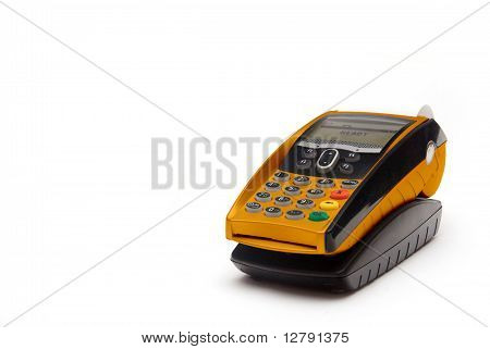 Grey Portable Contactless Credit Card Terminal on Base poster