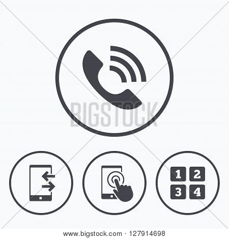 Phone icons. Touch screen smartphone sign. Call center support symbol. Cellphone keyboard symbol. Incoming and outcoming calls. Icons in circles.