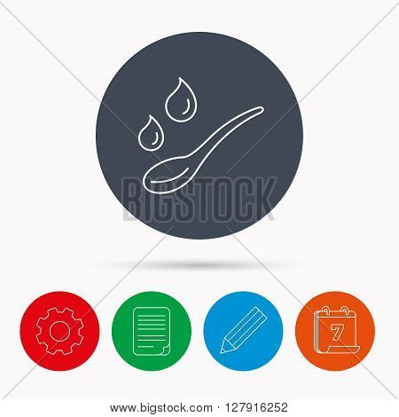 Spoon with water drops icon. Baby medicine dose sign. Child food symbol. Calendar, cogwheel, document file and pencil icons.